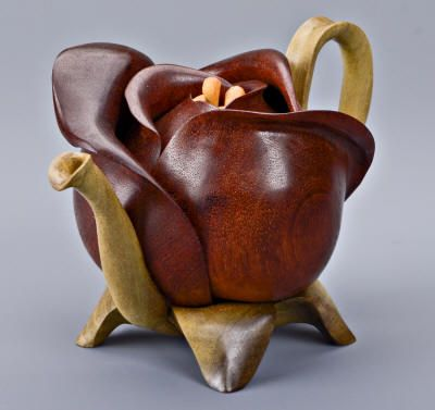 Denise Nielsen and George Worthington / Flower Bud Teapot ... carved wood teapot in shape of a rose, mahogany flower petal, poplar leaves, spout & handle, satinwood stamen .... body & spout are hollow, the lid is removable, c. 2010s, USA