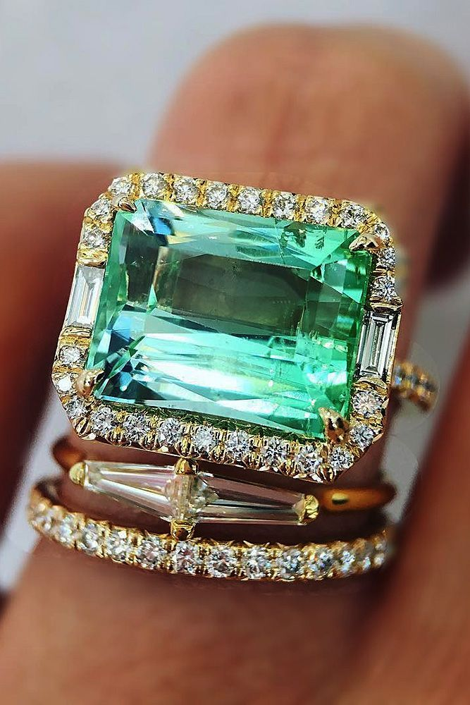 30 Great Bands And Wedding Rings For Women That Admire ❤️ wedding rings for women emerald cut halo set tourmaline ❤️ See more: http://www.weddingforward.com/wedding-rings-for-women/ #weddingforward #wedding #bride #engagementrings