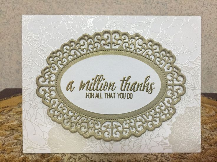 The Ton Floral Border Cling Background, Ranger Silver Pearl Embossing Powder, Zing Gold Embossing Powder, The Ton Happiest of Peonies clear stamp, Crafter's Companion Downton Abbey Ornate Oval Frame dies.