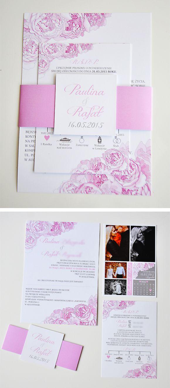 """projekt ŚLUB - zaproszenia ślubne, oryginalne, nietypowe dekoracje i dodatki na wesele: Zaproszenia i dodatki ślubne z motywem piwonii """"PIWONIE 4 - Zaproszenia z opaską"""""""
