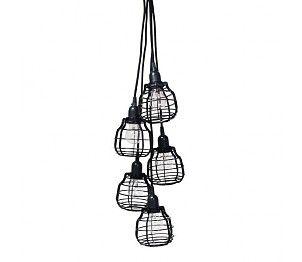 HK-living Hanglamp met 5 LAB lampen met zwart snoer en pendel 13x13x17cm