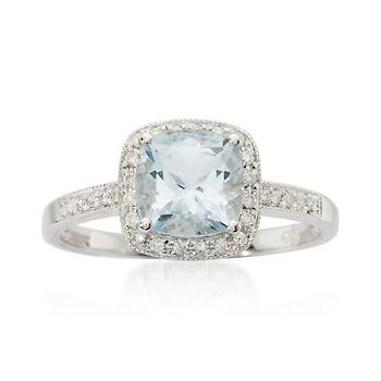 1.20 ct. Aquamarine and .15 ct. t.w. Diamond Ring in 14kt White Gold