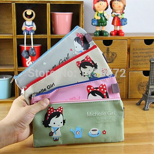 New arrival stationary, Korea design, lovely girl school pencil case for girls, storage bag for collect cosmetics, free shipping