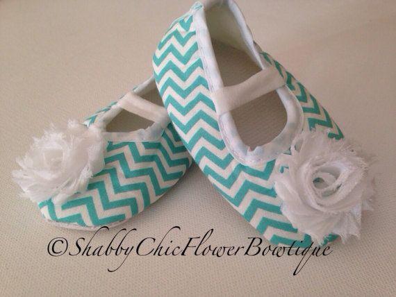 SALE Aqua Baby Chevron Shoes Shabby Chic by ShabbyFlowerBowtique