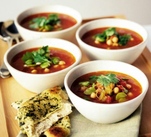 Moroccan chickpea soup-add 1/2 Tb of Moroccan spice blend (Ras El Hanout), use edamame for broad bean.