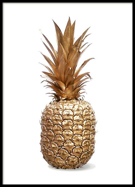 Stylish poster with pineapple in gold on a white background that matches any interior. It looks great when combined with some of our other posters as part of a personalized wall art collage. www.desenio.com