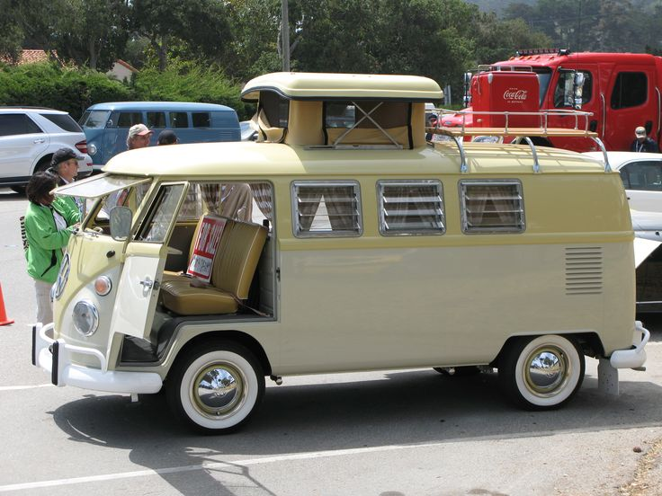 """A beautiful T1 camper van with a """"mushroom"""" schleeping roof."""