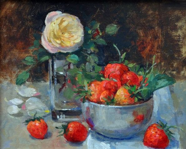Strawberries In The Silver Dish And A Rose (596x476, 337Kb)