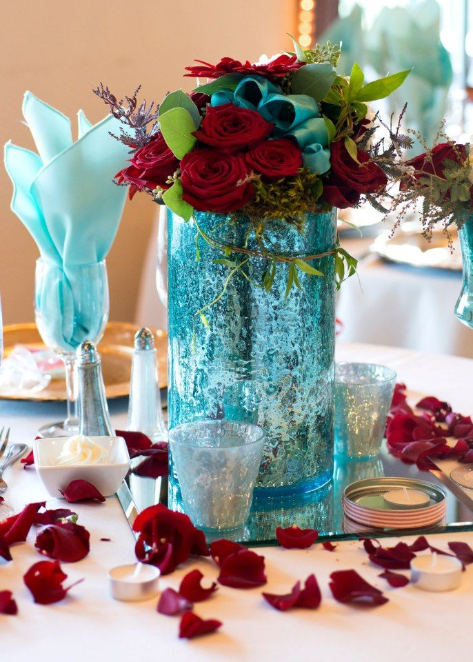 Red And Tiffany Blue Floral Arrangements Weddings