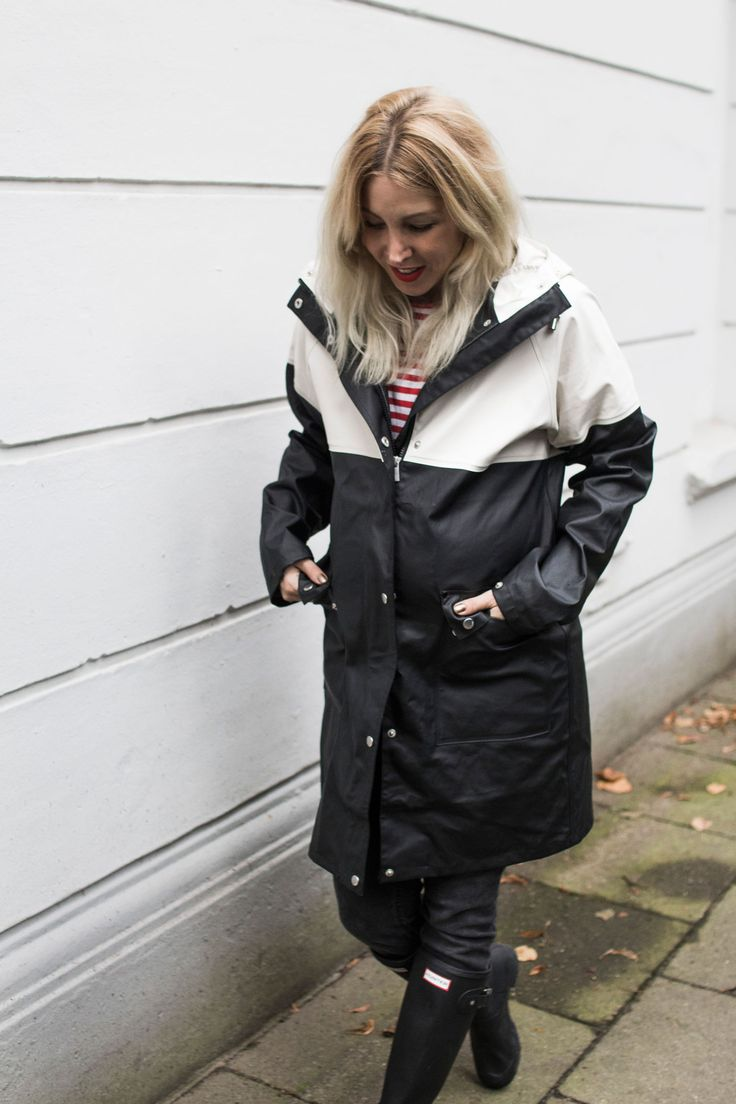 Black raincoat outfit
