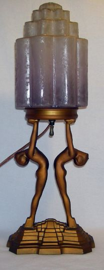 Beautiful double nude lamp, done in the style of Nuart but unsigned. We're not sure of the maker, but it's obviously of high quality, 650. dollars great website
