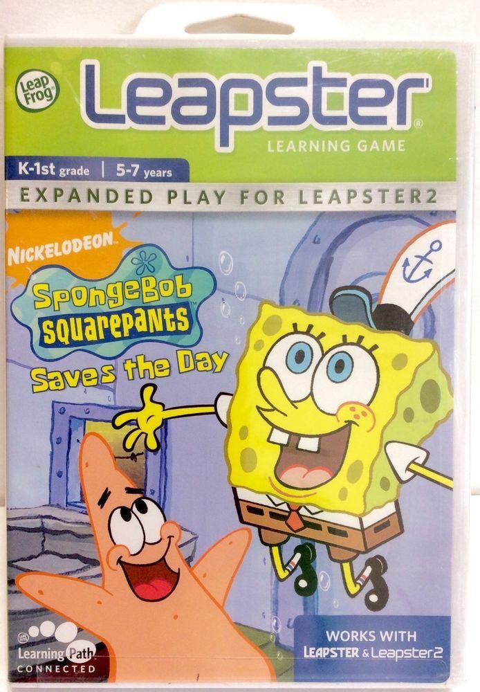 NEW Leapfrog Leapster 1 2 Learning Game SpongeBob Squarepants Saves the Day K-1 #LeapFrog