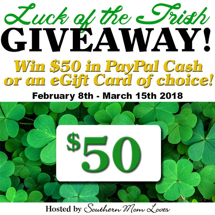 Last St. Patrick's Day, I started the Luck of the Irish Giveaway and I'm going to continue it this year. This St. Patrick's I'm giving away $50 in the winner's choice of Paypal cash or an eGift Card of choice! Will you choose Starbucks for yummy drinks, Amazon for something green, Target for new clothes, or cash in your Paypal account? This giveaway is open worldwide; I love my readers all over the world and I want to help you celebrate wherever you are!