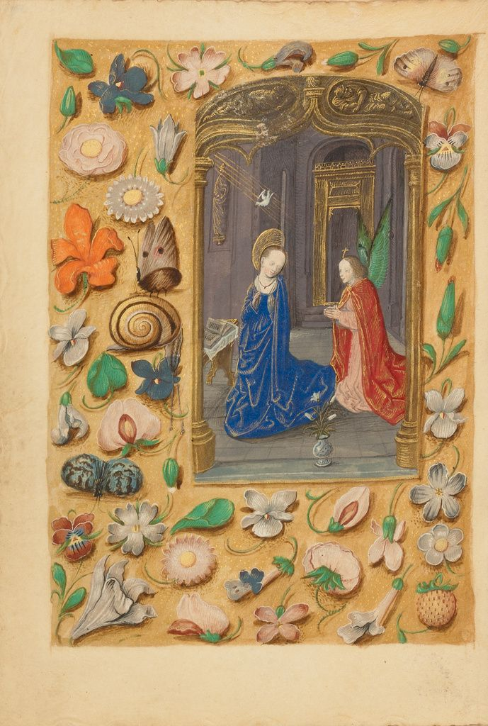 Master of the Dresden Prayer Book or workshop (Flemish, active about 1480 - 1515); The Annunciation; Bruges, Belgium; about 1480 - 1485 ?; Tempera colors and gold on parchment; Leaf: 20.5 x 14.8 cm (8 1/16 x 5 13/16 in.); Ms. 23, fol. 50v; J. Paul Getty Museum, Los Angeles, California