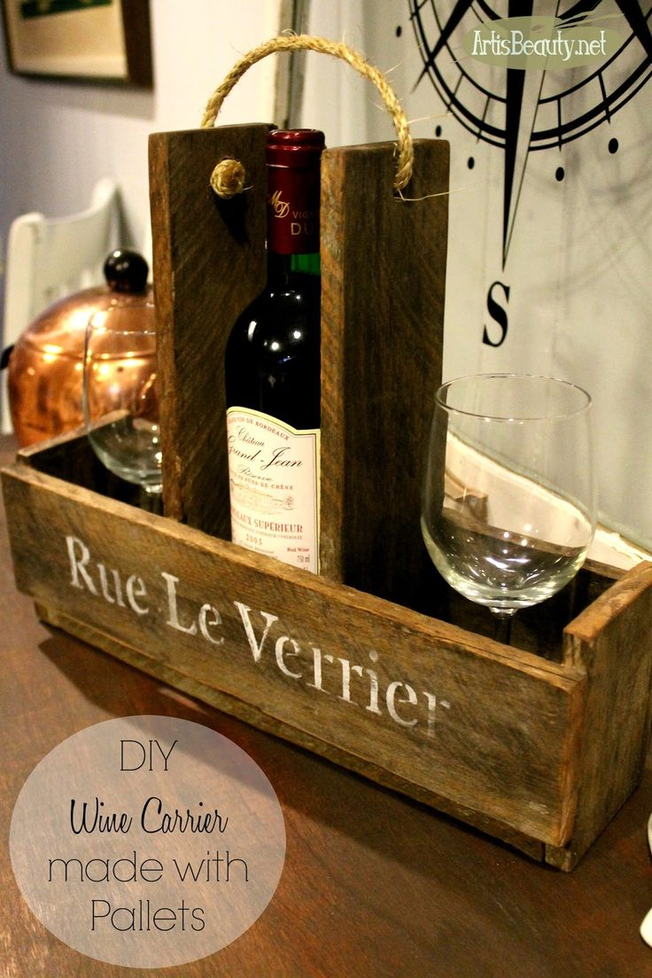 Diy french wine and wine glass carrier made from pallets