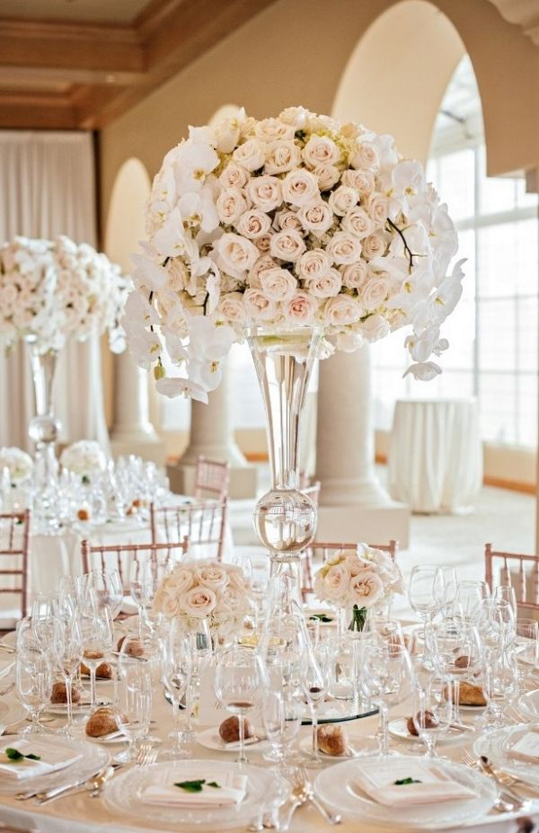 Tall White Wedding Centerpiece | Victor Sizemore Photography