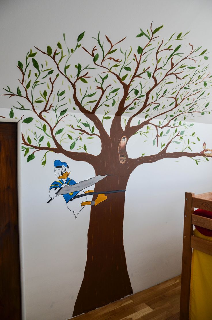 Donald duck wall painting Kids room #donaldduck #tree #wallpainting