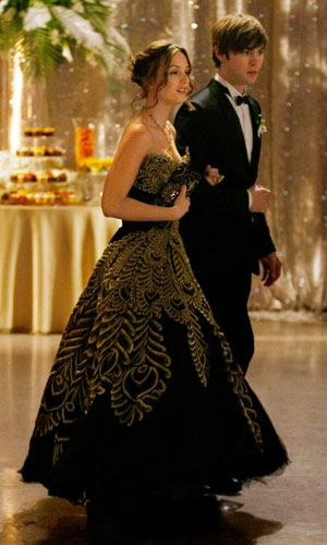 """Gossip Girl, 2009  THE ROLE: Leighton Meester as Blair Waldorf  SONG: """"Prom Theme"""" by Fountains of Wayne  WHY WE LOVE IT: In a scandalous battle from prom queen, Blair triumphed over her rivals in a gorgeous Marchesa gown—completing a fairytale night (minus breaking up with Nate)."""