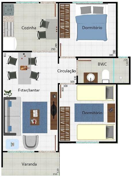 0011 Plano de casa de 53 m2 y 2 dormitorios de 1 piso. El plano cuenta con 53 metros cuadrados habitables que tiene en total para disfrutar en su interior, ademas de 2 dormitorios, una amplia cocina, un amplio living y un comedor justo y necesario. El plano de casa solo proyecta un cuarto de baño dispuesto de una curiosa forma separando los dos dormitorios. Mire el plano de esta llamativa vivienda.