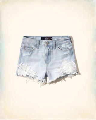Lacy High Rise Denim Short-Shorts