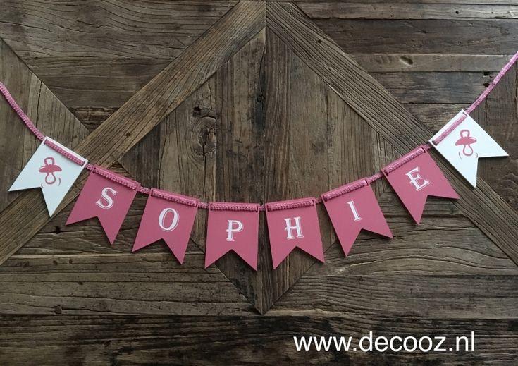 Vlaggenlijn met naam, banner met naam, kraamcadeau, slinger meisjesnaam, verjaardagsslinger