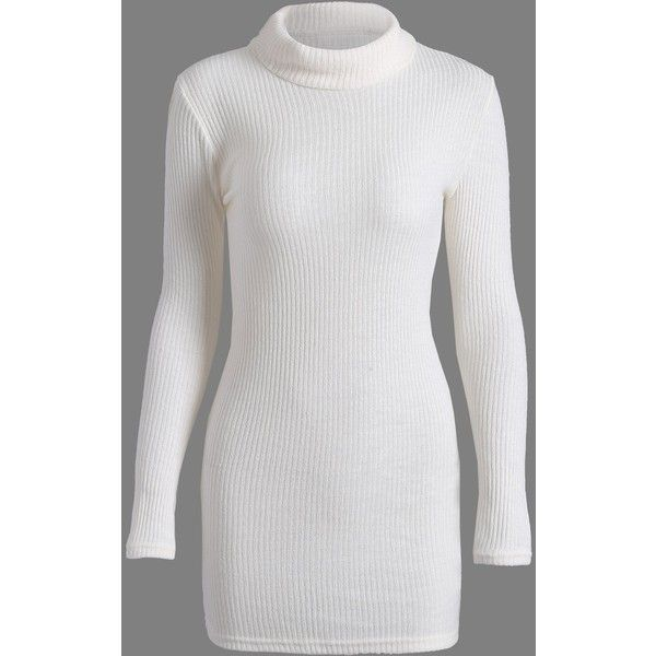 Long Sleeve Turtleneck Bodycon Sweater Dress (30 BAM) ❤ liked on Polyvore featuring dresses, white sweater dress, turtleneck sweater dress, white dress, bodycon dress and white long-sleeve dresses