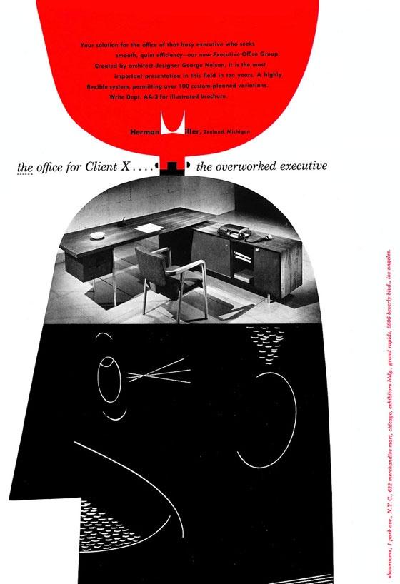 Herman Miller Office, vintage adDesign Collection, Mid Century Modern, Design Inspiration, X The Overworked, Miller Ads, Vintage Graphics Design, Overworked Executive, Ads Client, Herman Miller Illustration
