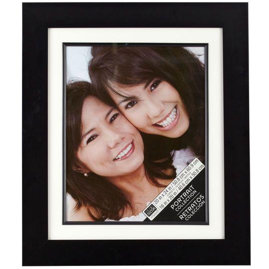 """Wide Black Portrait Frame with Mat by Studio Décor®, 16"""" x 20"""""""