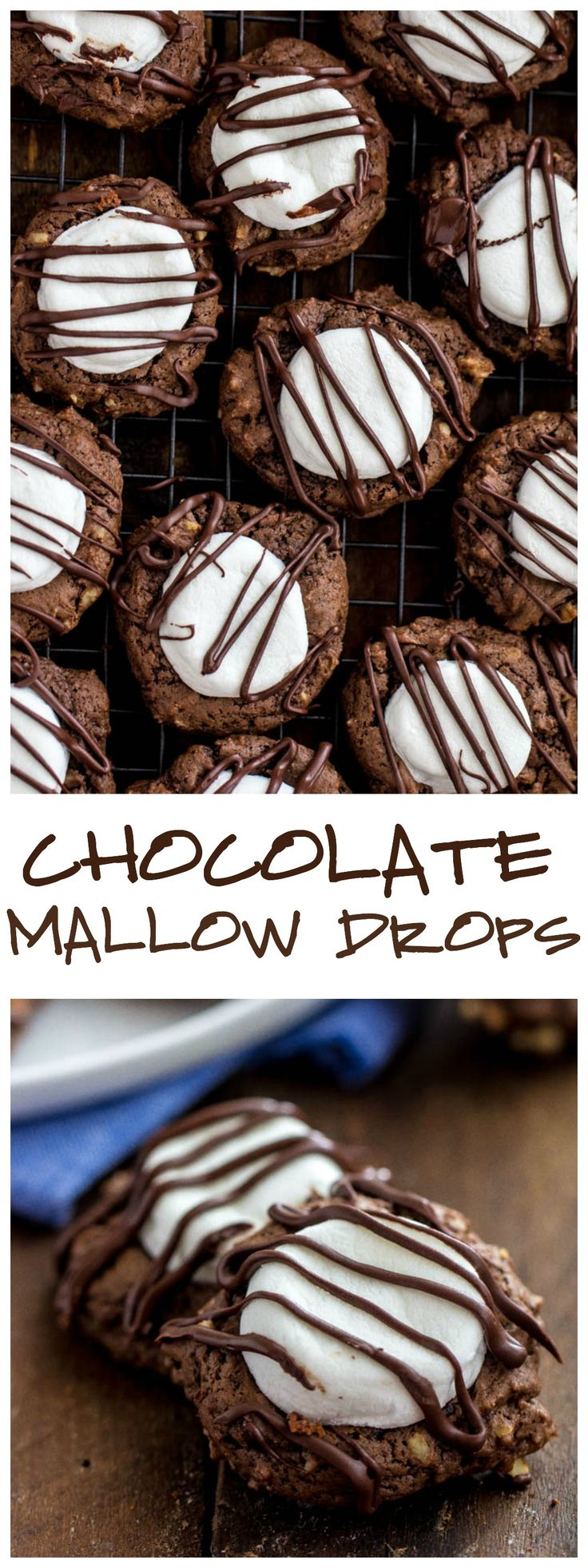Chocolate Mallow drops are delicious fudgy cookies with a marshmallow center and drizzled in chocolate! YUM!