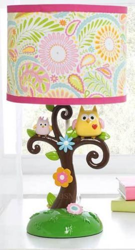 Dena Happi Tree Girls Lamp with Colorful Bright Floral Shade and Owls - Kidsline