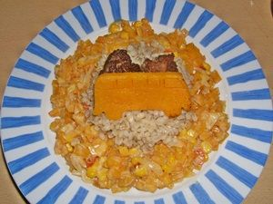 Meatballs on Squash and Pearl barley with squash-bus (made useing bus Cookie cutter and fried :-)