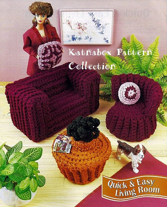 "Fashion Doll 11 1/2"" Home Decor Furniture, ""Quick & Easy Living Room,"" Set, Vintage 1990's, Instant Download, Crochet PDF Pattern"