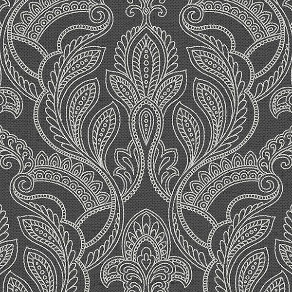 Intricate Raised Damask In White On Charcoal Wallpaper