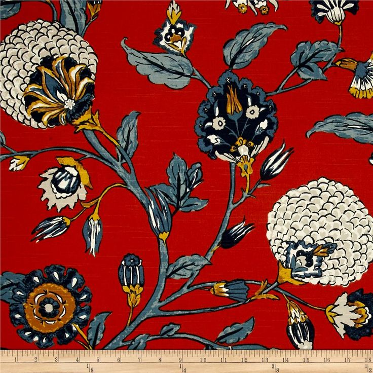 Dwell Studio Auretta Linen Persimmon from @fabricdotcom  Screen printed on a linen/rayon blend, this versatile medium/heavyweight fabric is perfect for window accents (draperies, valances, curtains and swags), accent pillows, bed skirts, duvet covers, slipcovers , upholstery and other home decor accents. Create handbags, tote bags, aprons and more. Colors include burnt orange, shades of blue, mustard yellow, and cream. This fabric has 65,000 double rubs.