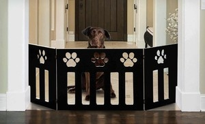 Groupon - $26 for an Adjustable Black-Paw or Dog-Bone Wooden Pet Gate (Up to $99.99 List Price). Free Shipping. in Online Deal. Groupon deal price: $26.00