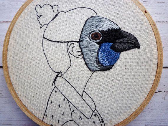 Amy Jones - Kokako Girl - New Zealand Native Bird Mask Embroidery, 4inch Hoop Art