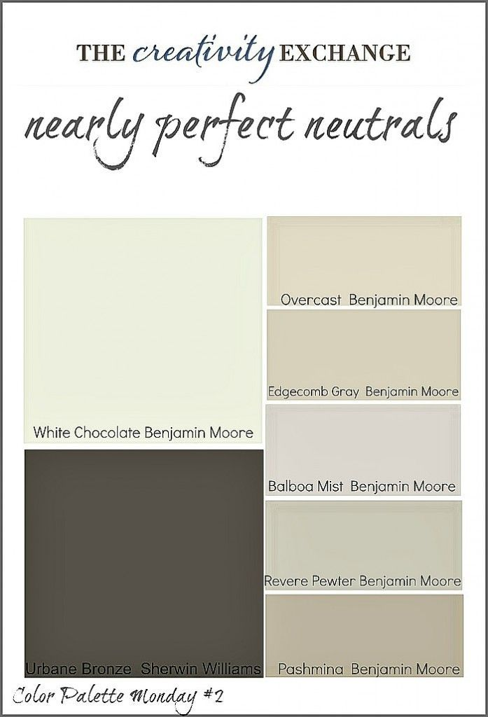 Collection of great neutral paint colors used frequently with home builders and designers Color Palette Monday The Creativity Exchange. Clockwise from top left: White Chocolate, Benjamin Moore; Overcast, Benjamin Moore; Edgecomb Gray, Benjamin Moore; Balboa Mist, Benjamin Moore; Revere Pewter, Benjamin Moore; Pashmina, Benjamin Moore; Urbane Bronze, Sherwin Williams.