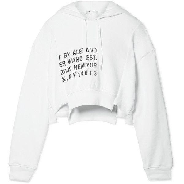 T by Alexander Wang Fleece-paneled printed cotton-jersey hooded top (11,735 THB) ❤ liked on Polyvore featuring tops, hoodies, sweaters, white, white hoodies, hoodie crop top, white hoodie, white hooded sweatshirt and sweatshirt hoodies