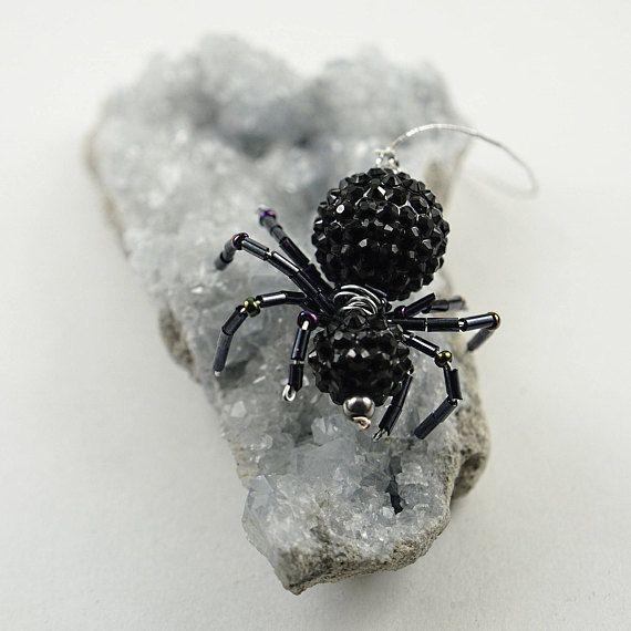 Lucky spider Black spider suncatcher Strange home decor