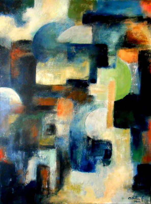 Acrílico sobre tela 80x60 by Adélia F. O lugar da casa, poema de Eugénio de Andrade