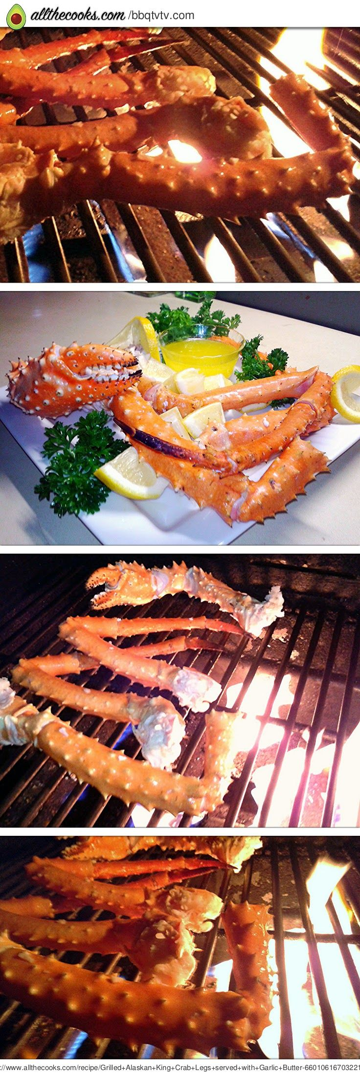 """Grilled Alaskan King Crab Legs served with Garlic Butter.! 5.00 stars, 6 reviews. """"A fast, easy and elegant dinner for your next outdoor party."""" @allthecooks #recipe"""