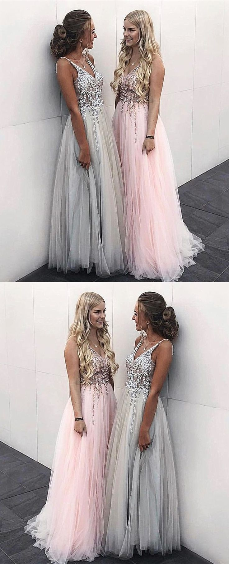 princess pink tulle long prom dresses with beading, luxury crystal prom dresses … – Fashion Prom Party Dresses