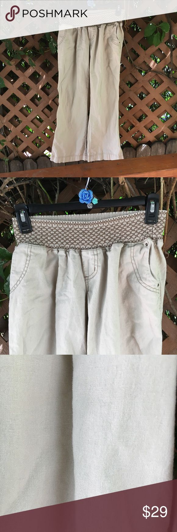 {Rewash} Khaki Linen Blend Wide Leg Culottes S Like new! Beautiful, comfortable and so on trend! Khaki or tan color linen and cotton blend wide leg capris. Retro boho vibes. So hot right now! Light and breezy and oh so versatile. Cool embroidered wide elastic waist. Rewash Pants Capris