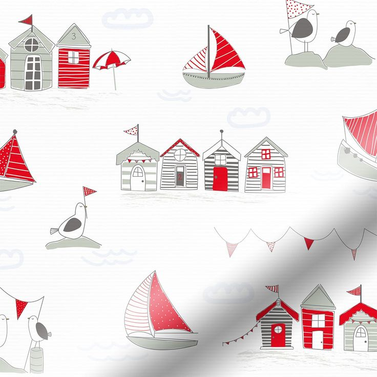 Splash Beach Hut Red Roller Blind
