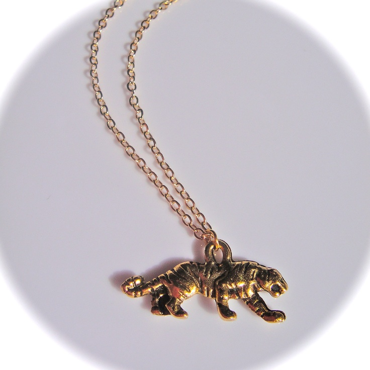 Gold Tiger Necklace on Delicate Chain-LSU Tigers-Sale  https://www.etsy.com/listing/105216777/gold-tiger-necklace-on-delicate-chain