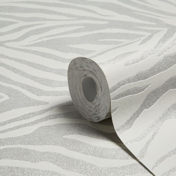 Zebra Silver Glitter Wallpaper | Departments | DIY at B&Q