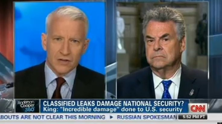"""Rep. Peter King (R-N.Y.) said on CNN's """"AC 360"""" Tuesday night that reporters should be prosecuted for publishing stories with leaked classified information. After King explained why he believes the recent NSA leaks pose a grave threat to national security, host Anderson Cooper asked him if he thinks the reporters who break stories off of leaked information should be punished in some way."""