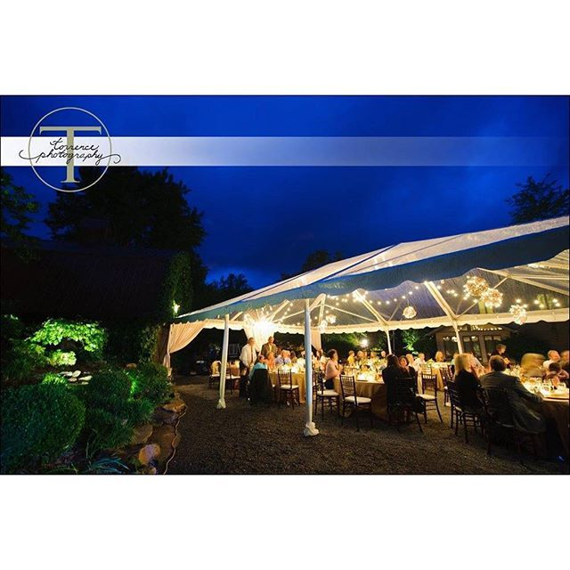 Hawkesdene's reception facilities provide for outdoor dining under the stars or, if desired, under a clear or white top set up adjacent to the large covered pavilion. #destinationwedding #weddingday #weddingdress #weddingbells #bride #groom #stars