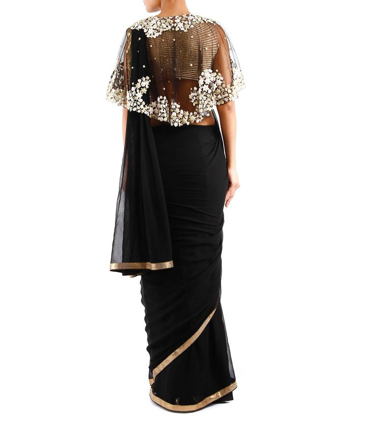 Black Pleated Silk & Chiffon Saree With Blouse And Cape