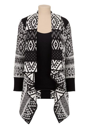 Contrast Pattern Open Front Cardiwrap with Lurex (original price, $44) available at #Maurices